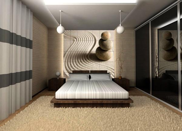 Дизайн спальни со шторами