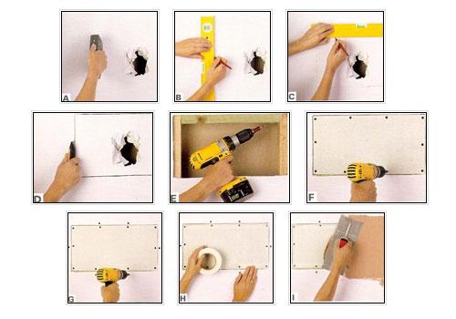 Как поставить заплатку на поврежденный гипсокартон