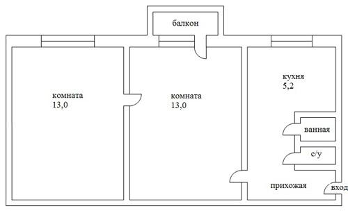 Планировка двухкомнатной квартиры в пятиэтажке (хрущевка)