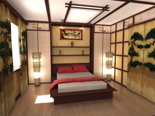 Японский стиль в интерьере спальни-1