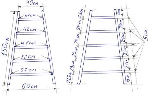 Лестница-стремянка своими руками - чертеж