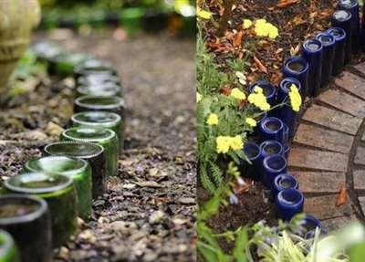 Садовая дорожка из стеклянных бутылок1