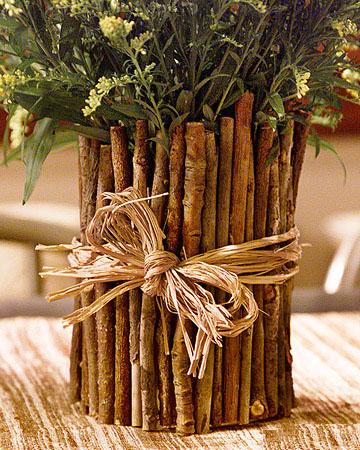 Горшок для цветов из куска дерева