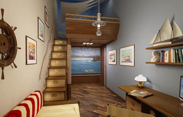 дизайн комнаты для мальчика с морской темой с антресолью
