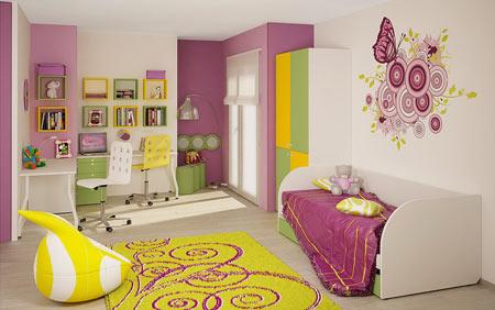Комната для девочки с цветами и бабочками