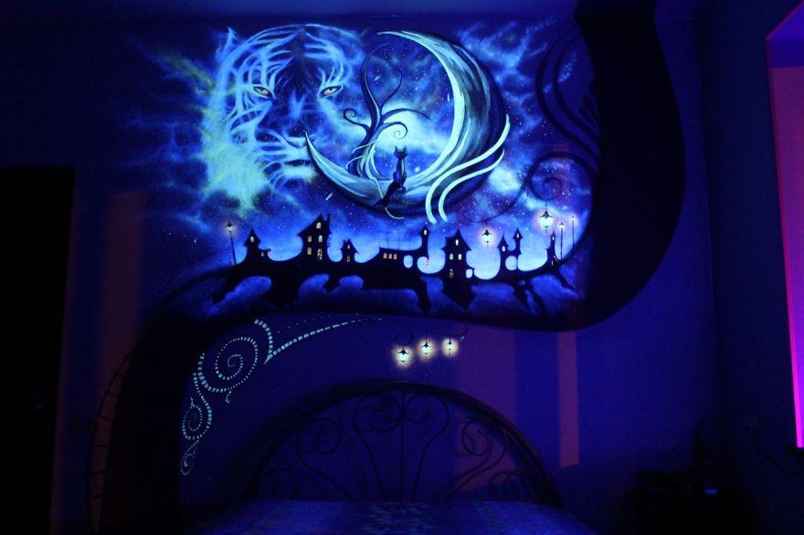 флуоресцентные краски в интерьере - рисунок