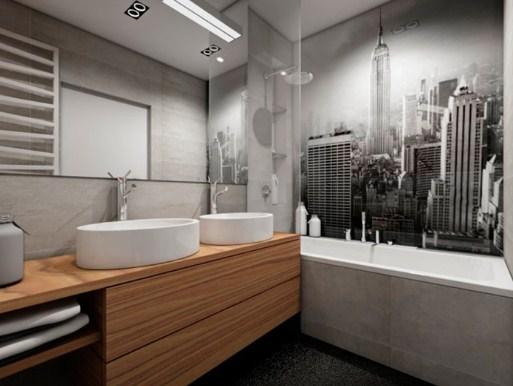 Интерьер ванной под бетон