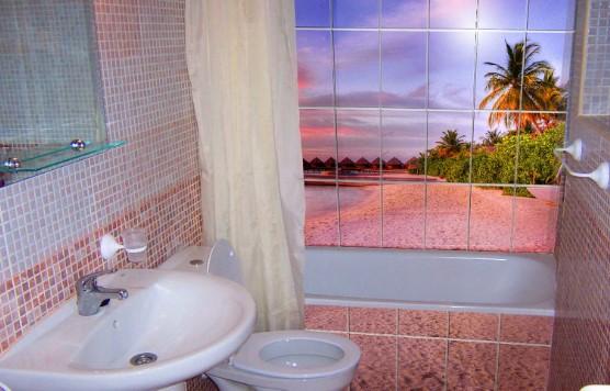 Небольшая ванная с туалетом и пейзажем