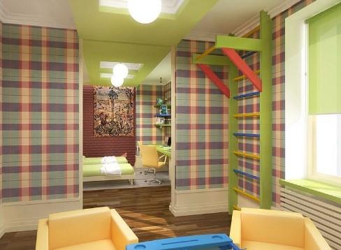 Шведская стенка в доме из дерева для малогабаритной квартиры