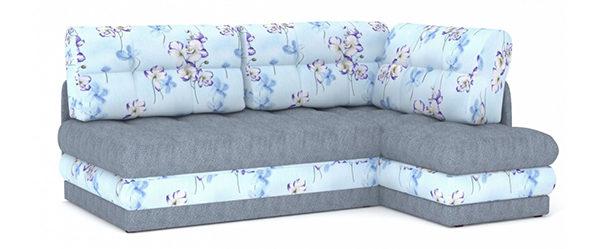 Угловой диван из голубого флока