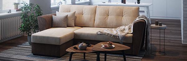Угловой диван из флока в интерьере